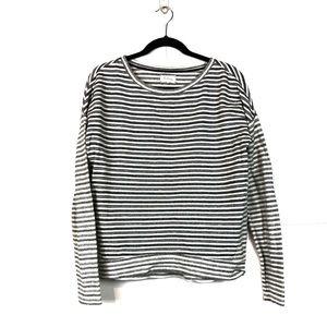 Lou & Grey Black Gray White Striped Sweatshirt